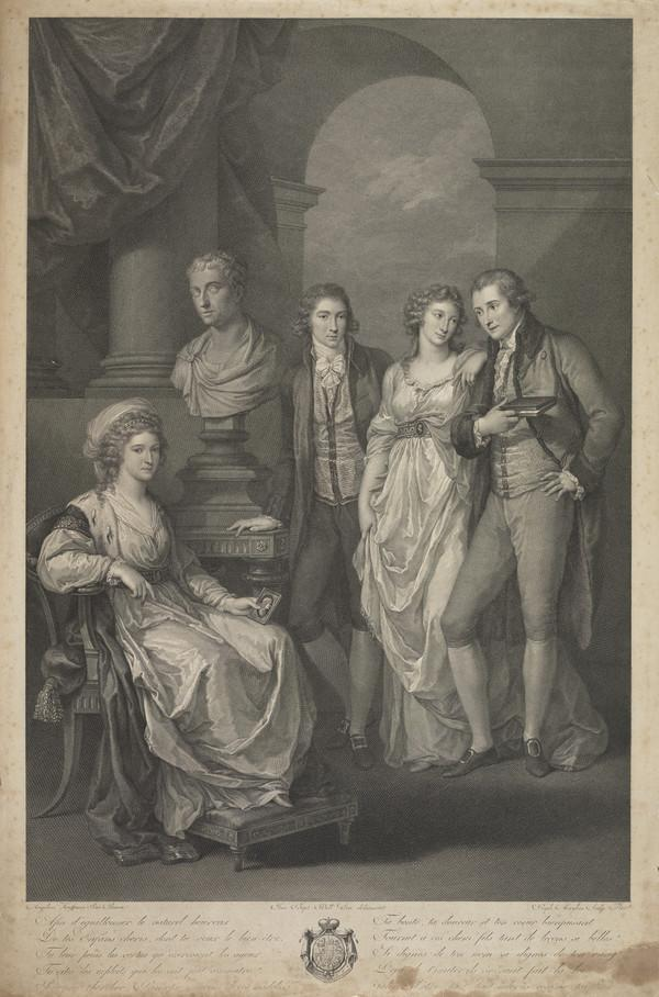 Princess of Holstein-Beck, fl. c 1791 (with her daughter and husband, Count and Countess Tolstoy, and a young man, probably her son) - [GROUP] ...