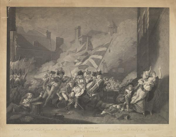 Major Pearson (The Death of Major Pearson and the defeat of the French troops in the market-place of St Heliers in the Island of Jersey) (Published 1800)
