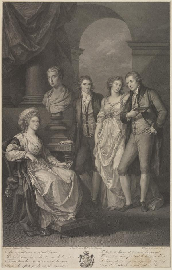 Princess of Holstein -Beck, fl. c 1791. (with her daughter and husband, Count and Countess Tolstoy, and a young man, probably her son) - [GROUP]