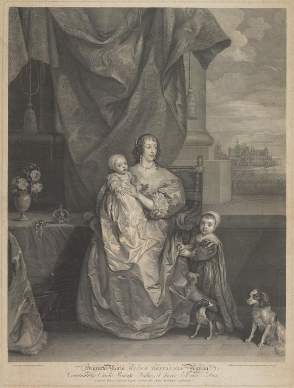Queen Henrietta Maria, 1609 - 1669. Queen of Charles I (with her daughter Mary and the Prince of Wales)