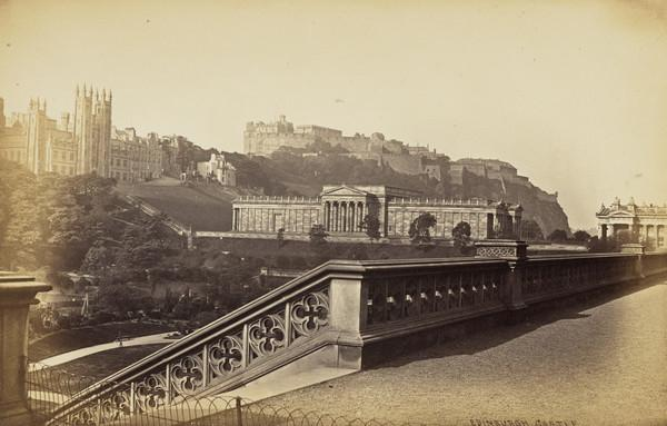 The National Gallery and the Castle, Edinburgh 1869