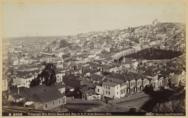 Telegraph Hill, North Beach and Bay of San Francisco from Russian Hill