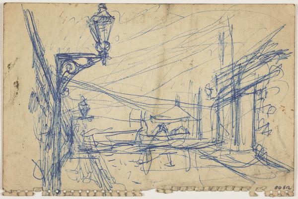 Street Scene with Lamps