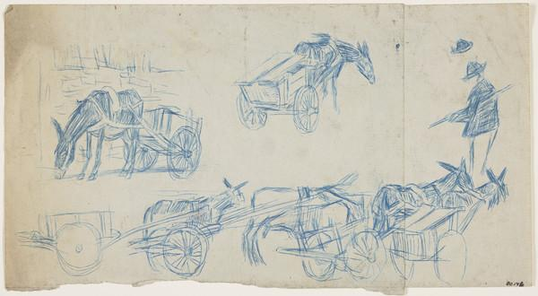 Sketches of a Mule and Cart