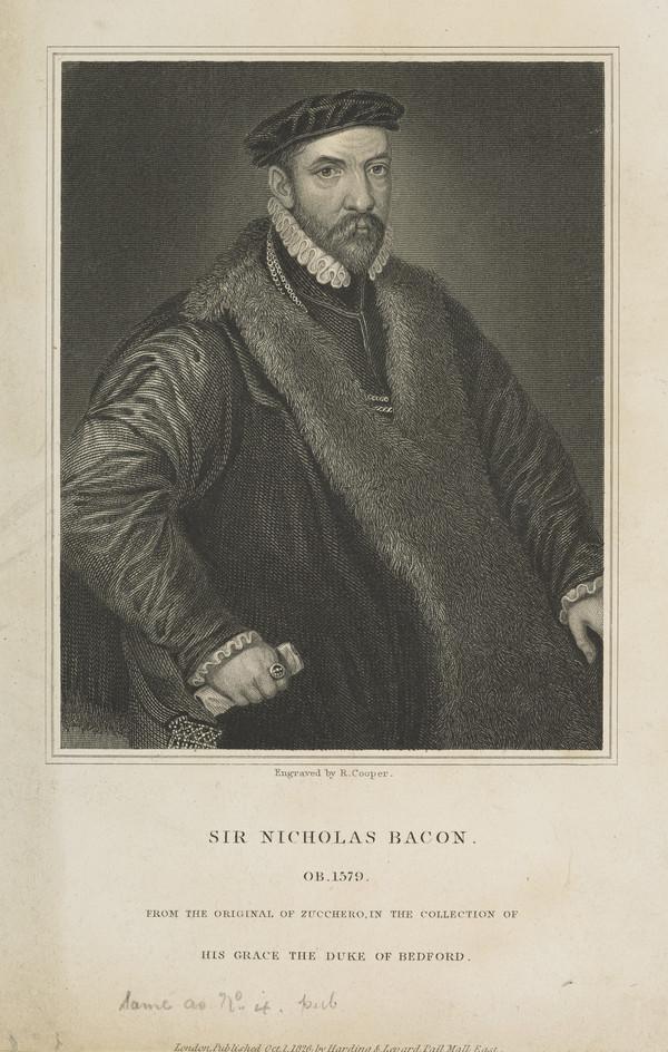 Sir Nicholas Bacon, 1509 - 1579. Lord Keeper (Published 1826)