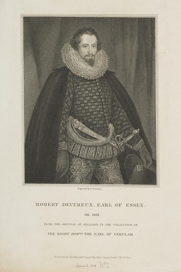 Robert Devereux, 2nd Earl of Essex, 1567 - 1601. Favourite of Queen Elizabeth of England (Published 1825)