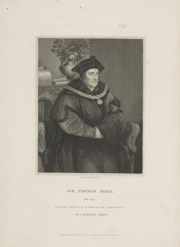 Sir Thomas More, 1478 - 1535. Lord Chancellor (Published 1831)
