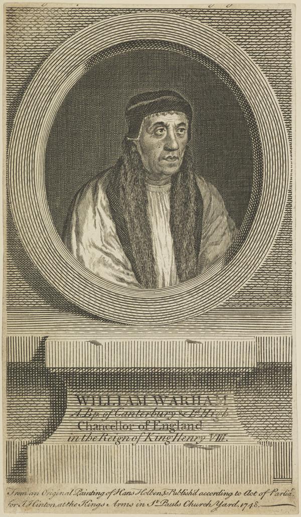 William Warham, 1450 - 1532. Archbishop of Canterbury (Published 1748)