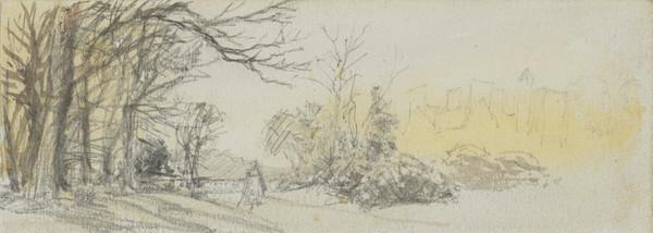 Landscape with Trees and the Outline of Buildings