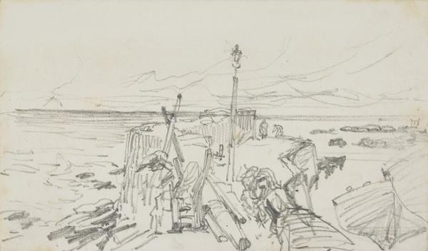 Preliminary Sketch for a Watercolour of Cellardyke Harbour (About 1866)