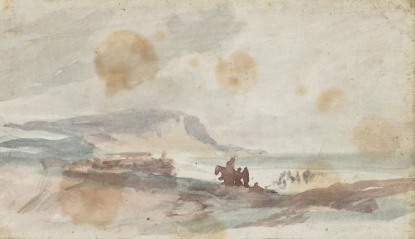 Seascape with a Horse and Rider and Two Other Figures