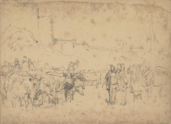 Cattle and Figures with Buildings in the Background