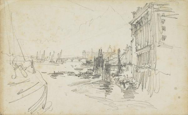 River Scene with Buildings and a Bridge