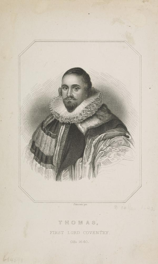 Thomas Coventry, 1st Baron Coventry, 1578 - 1640. Lord Keeper