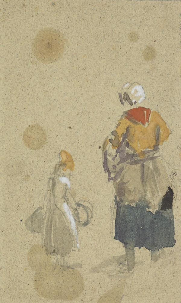 Rear View of a Woman and Child