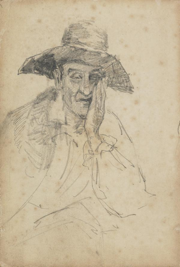Portrait Study of a Man Wearing a Hat, with his left hand raised to his face