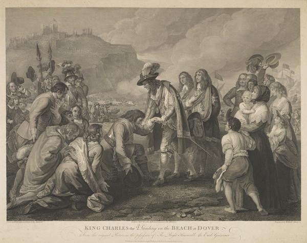 Charles II, 1630 - 1685. King of Scots 1649 - 1685, King of England and Ireland 1660 - 1685 (King Charles II landing on the beach at Dover) (Published 1789)