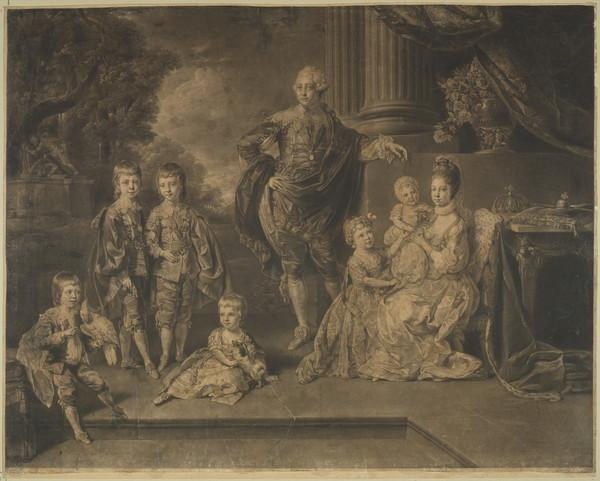 George III, 1738 - 1820. Reigned 1760 - 1820. (with Queen Charlotte and their six eldest children, George, Frederick, William, Charlotte, Edward... (Published 1771)