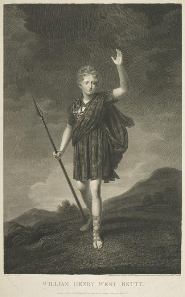 """William Henry West Betty, 1791 - 1874. The """"Young Roscius"""", juvenile actor (Published 1807)"""