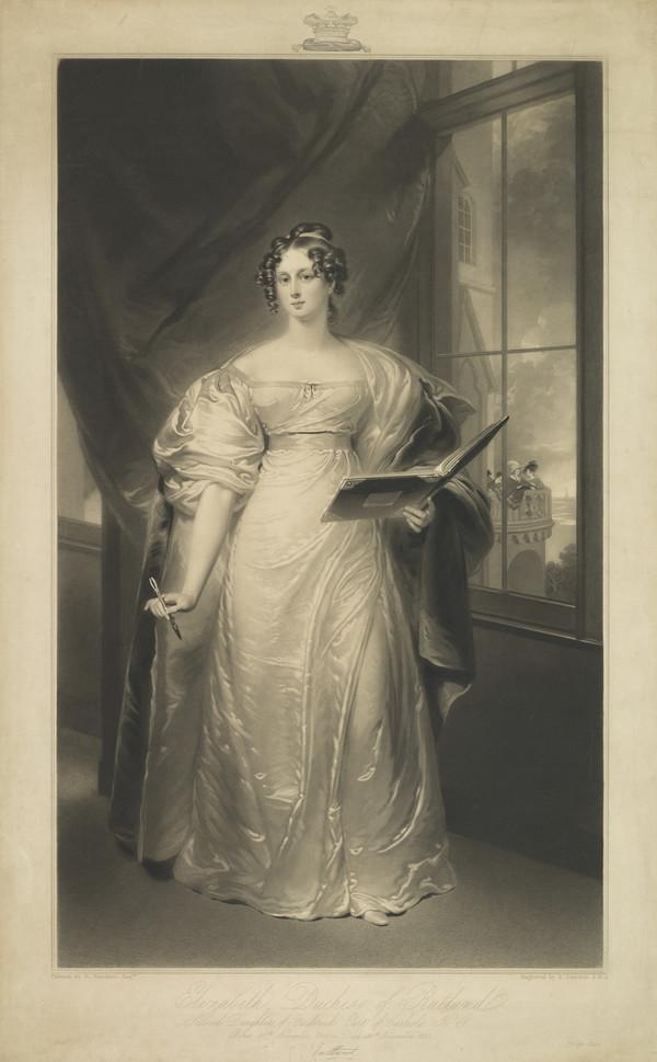 Elizabeth (Howard), Duchess of Rutland, 1780 - 1825. Daughter of the 5th Earl of Carlisle; wife of John, 5th Duke of Rutland