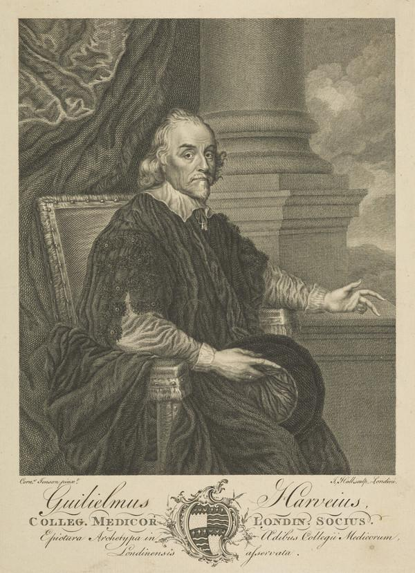 William Harvey, 1578 - 1657. Discoverer of the circulation of the blood (Published 1766)