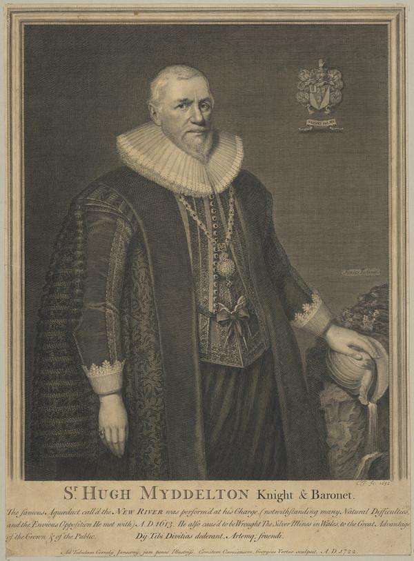 Sir Hugh Myddelton, c 1560 - 1631. Projector of the New River (1722)