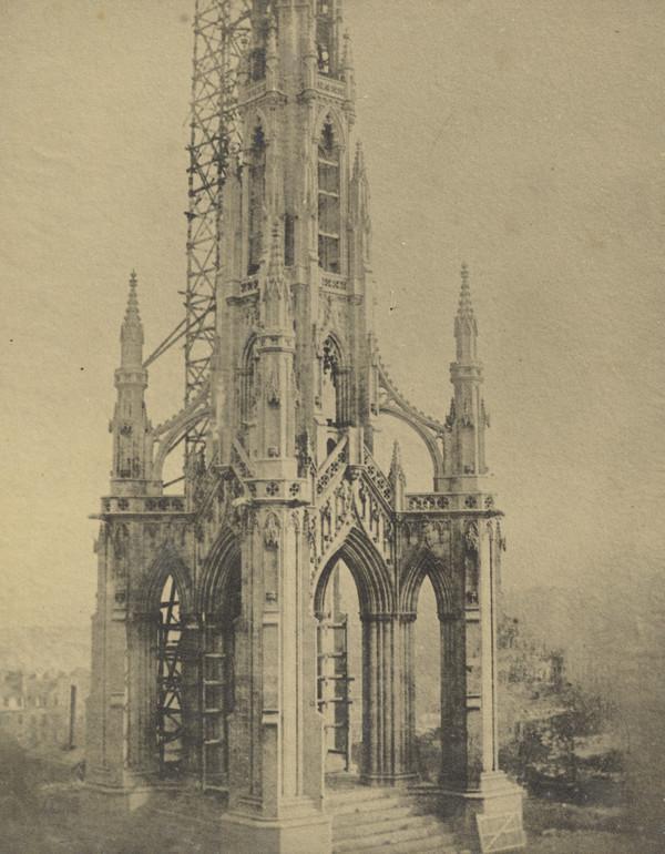 The Sir Walter Scott monument under contruction