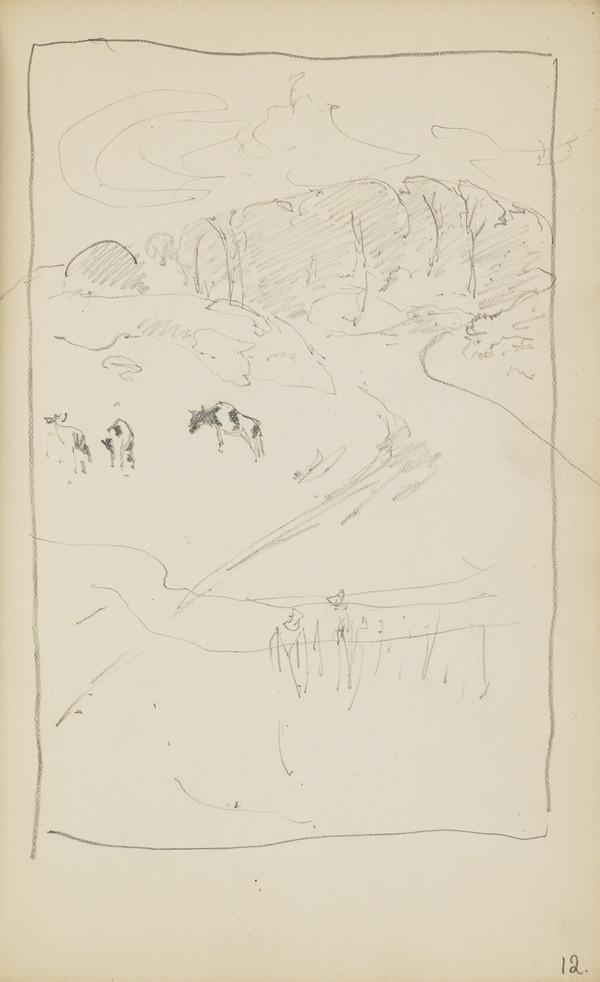 Landscape Sketch with Three Cows in the Distance (Verso: Slight Landscape Sketch) (About 1890s)