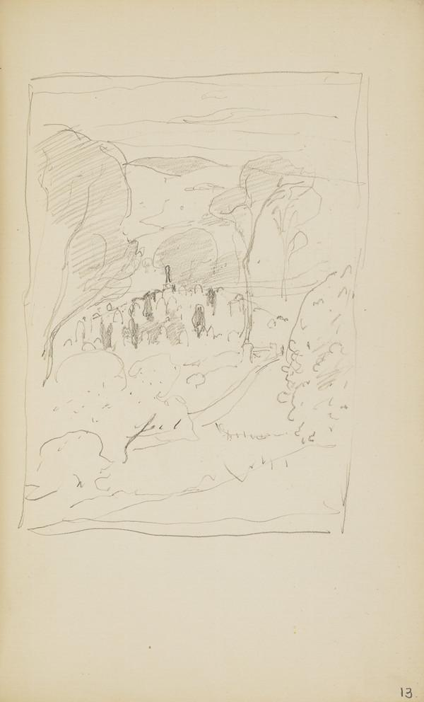 Slight Landscape Sketch with a Graveyard in the Distance (About 1890s)