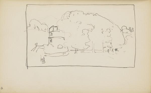 Slight Landscape Sketch with Trees and a Tower (About 1890s)