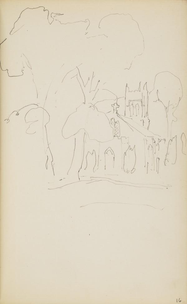 Sketch of a Church Amongst Trees (About 1890s)