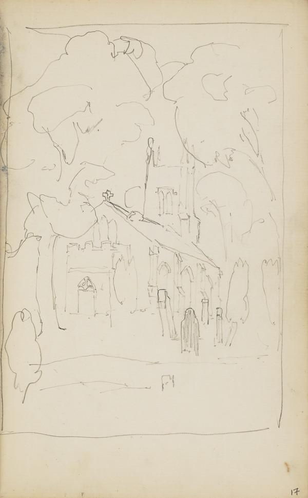 Sketch of a Church and Graveyard Amongst Trees (About 1890s)