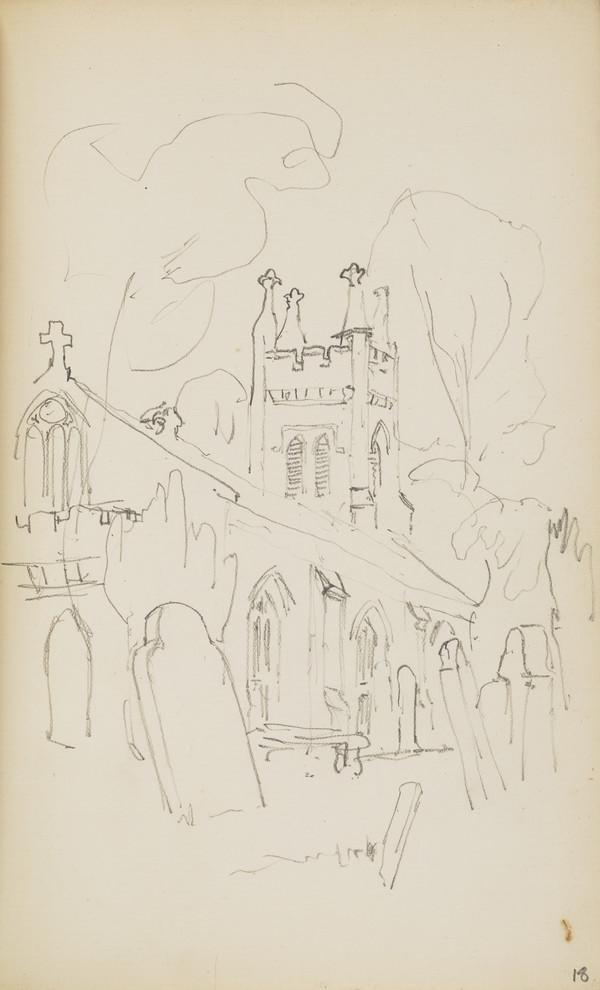 Sketch of a Church and Graveyard (Verso: Sketches of Chickens) (About 1890s)