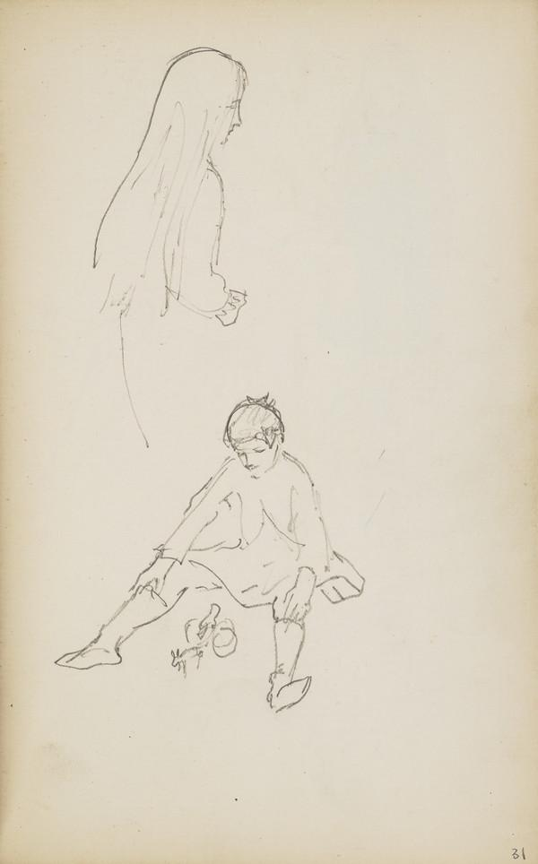 Two Sketches of Norah Geddes (Verso: Another Sketch of Norah in Colour Pencils) (About 1890s)