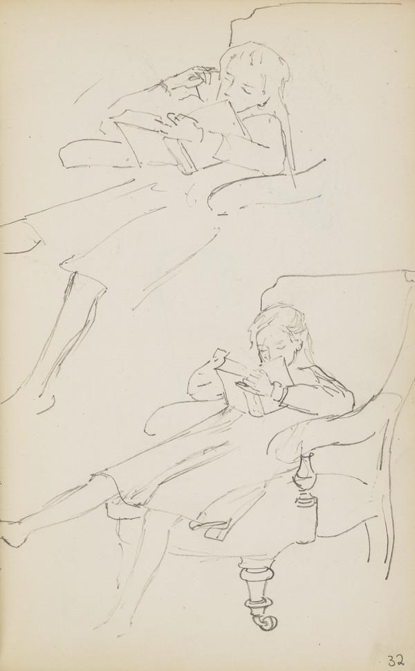Two Sketches of Norah Geddes Reading a Book (Verso: Further Sketches of the Children) (About 1890s)