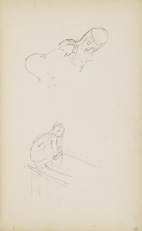 Two Sketches of Norah Geddes (Verso: Sketch of Two Doves) (About 1890s)