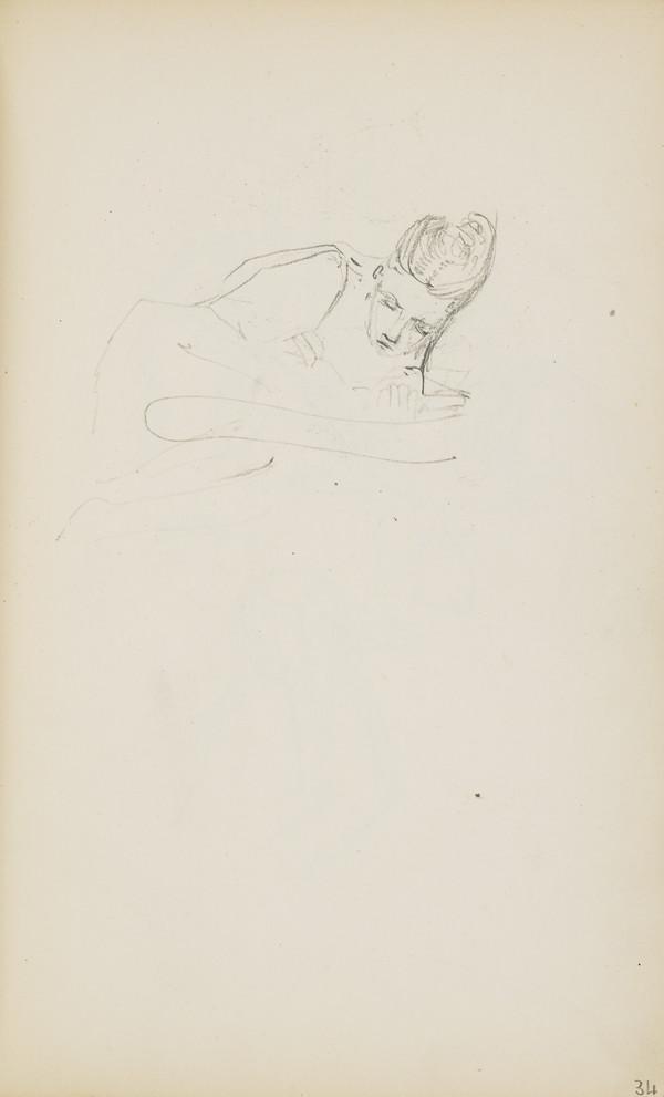 Norah Geddes Asleep (Verso: Arthur and Alasdair Geddes Playing) (About 1890s)