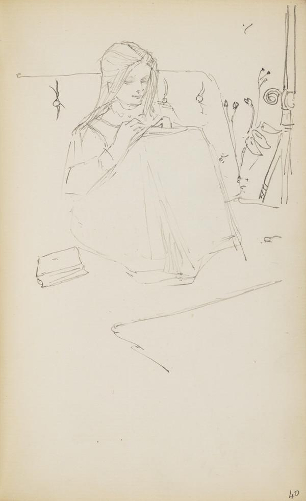 Norah Geddes Reading (Verso: Arthur Geddes and a Cat) (About 1890s)