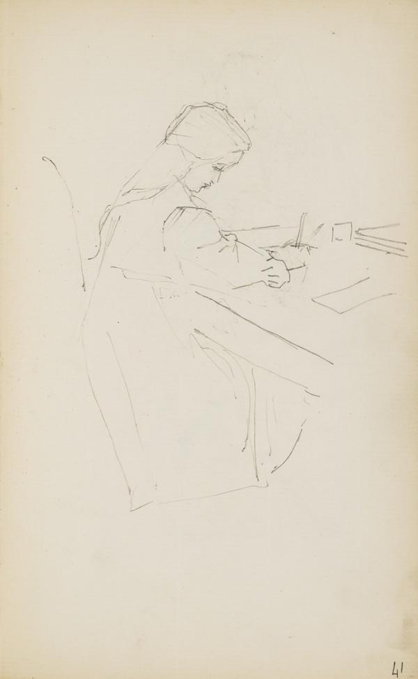 Norah Geddes Drawing (Verso: Arthur Geddes Playing with his Horse and Cart) (About 1890s)