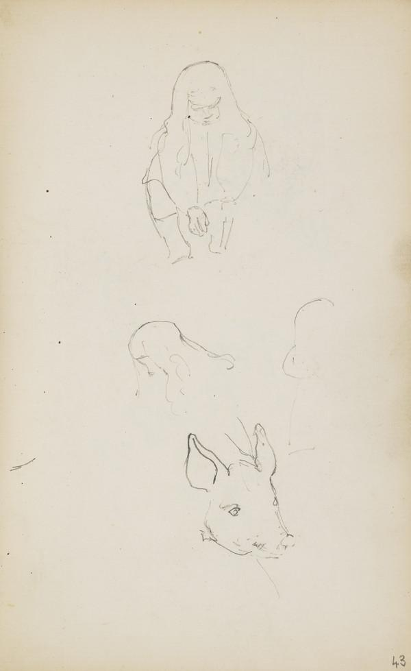 Sketches of Arthur Geddes and a Piglet (Verso: Three Sketches of Arthur) (About 1890s)
