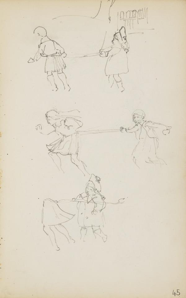 Arthur, Alasdair and Norah Geddes Playing (Verso: Alasdair Sawing Wood and Feeding the Pigs) (About 1890s)