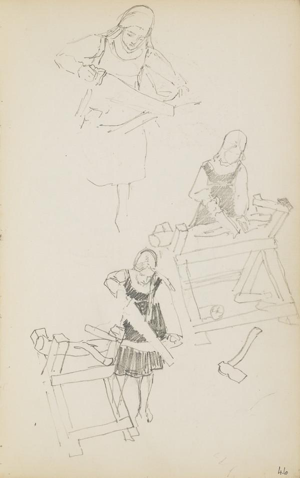 Norah Geddes Sawing Wood on a Workbench (Verso: Slight Sketch of Arthur) (About 1890s)