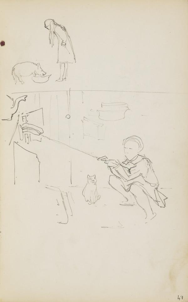 Norah Geddes Feeding a Pig and Alasdair Geddes Making Toast (Verso: Alasdair Having Breakfast) (About 1890s)