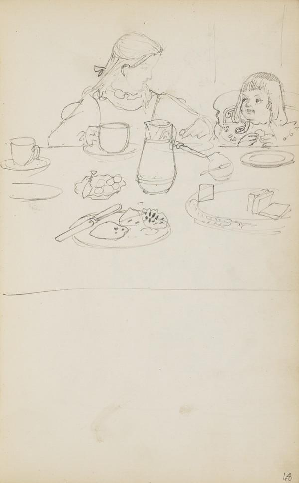 Norah and Arthur Having Breakfast (Verso: Sketch of the  ? Geddes House (About 1890s)