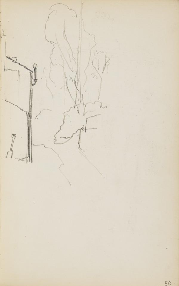 Section of a Sketch of the Geddes House (Verso: Sketch of a Garden Ornament and Two Slight Sketches of Norah Geddes) (About 1890s)