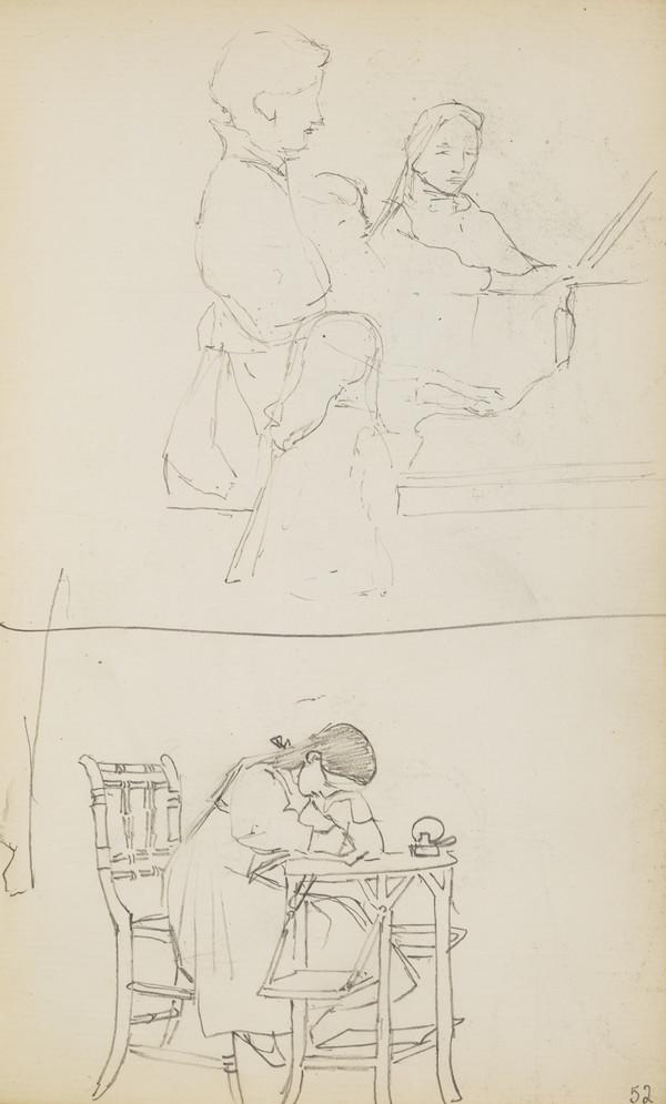 The Geddes Children around the piano and a Sketch of Norah Drawing (Verso: Two Sketches of Alasdair Drawing) (About 1890s)
