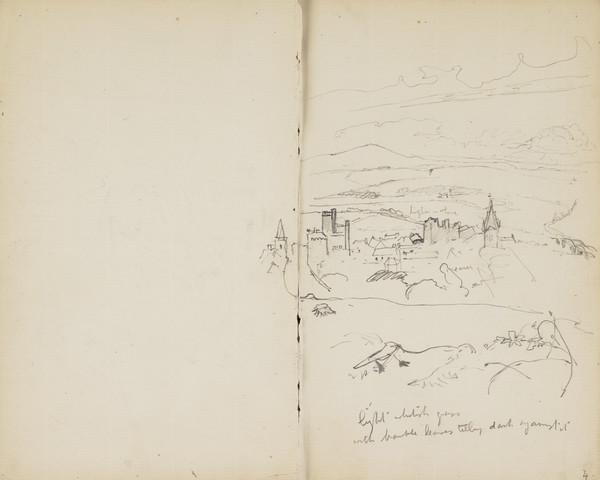 Sketch of a Distant Town (Verso: Sketch of a Tree Branch) (About 1890s)