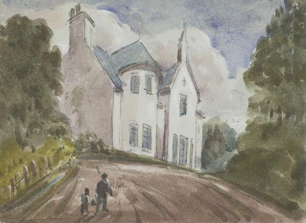 Two figures on a pathway leading to a house