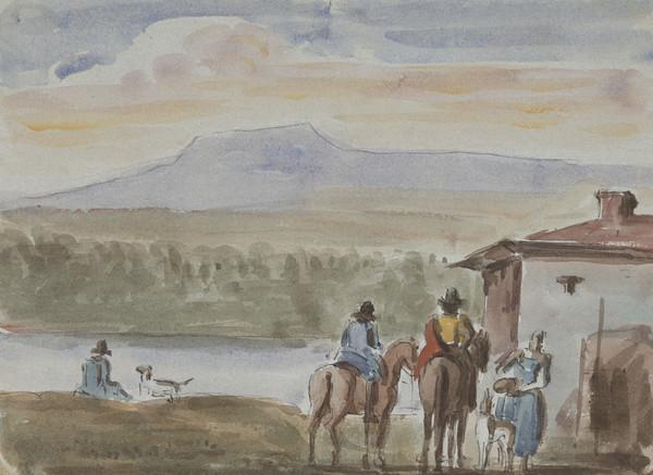 Two men on horseback and other figures in a landscape, copy of a picture in Edinburgh College