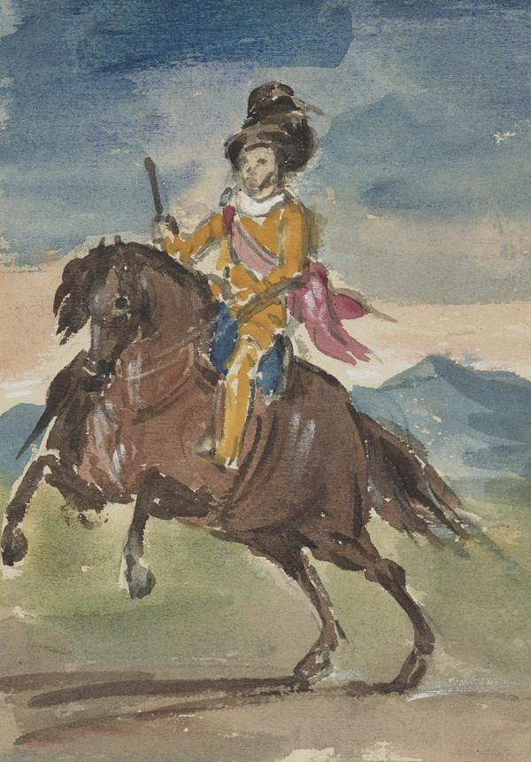 A man on horseback, copy of a drawing by Velazquez